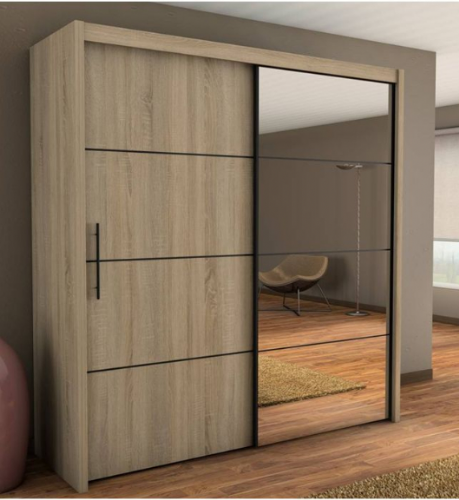 Carlo Sliding Door Wardrobe 201cm in Oak - 2420